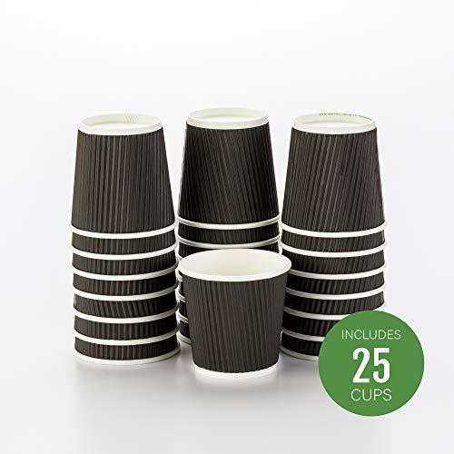Insulated Paper Coffee Cups - Ripple Wall - Black - 4oz - 25 Count Box - MATCHING LIDS RWA0327GR RWA0281B RWA0281W