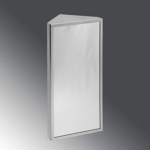 Renovators Supply Manufacturing Corner Medicine Cabinet Polished Stainless Steel Mirror Door Three Shelves Removable Middle Shelf