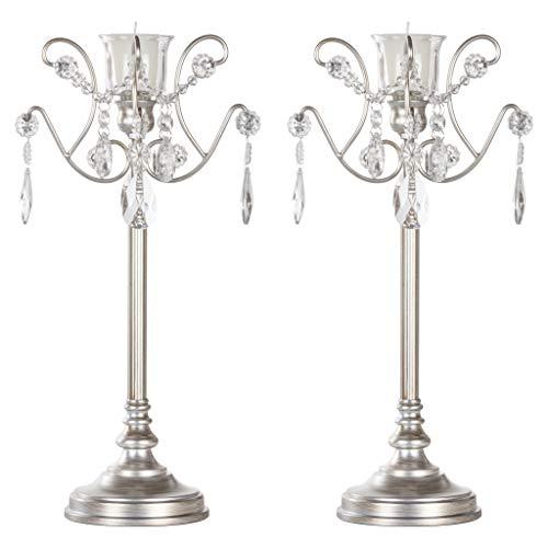 AMALFI DÉCOR Tiffany 2-Piece Vintage Silver Metal Candelabra Set Votive Candle Taper Candlestick Holder Accent Stand