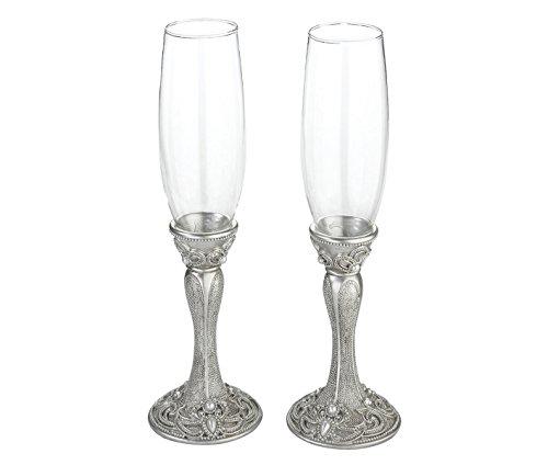 Lillian Rose Elegant Vintage Silver Wedding Toasting Glasses