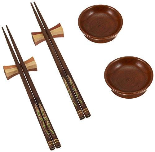 Cook Pro Asian Bamboo Chopsticks Gift Set of 2 Wooden