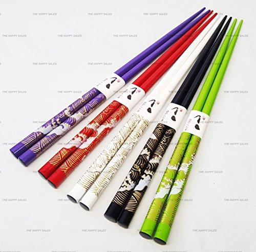 Happy Sales Bamboo Chopsticks Gift Set Wave Design Wave Vivid Color