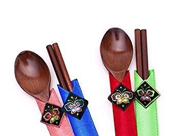 Wooden Spoons Chopsticks Gift Set Handmade Korean High Quality Wood Collectible Oriental Style Colorful Tableware Dinning Utensils Set Korea