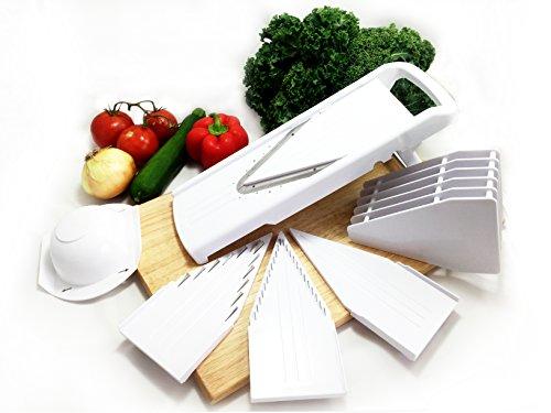 Dynamic Chef Mandoline Slicer, V Slicer, Fruit Slicer & Vegetable Slicer, Adjustable Mandolin - 5 Blade Inserts