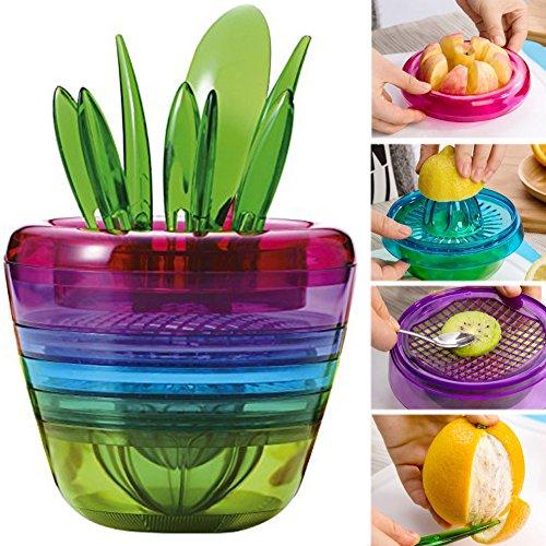 Olizeetm Creative Fruits Plant Multi Kitchen Tool Set Of 10 Apple Cutter Avocado Scoop Fruit Slicer Cutter Mesh