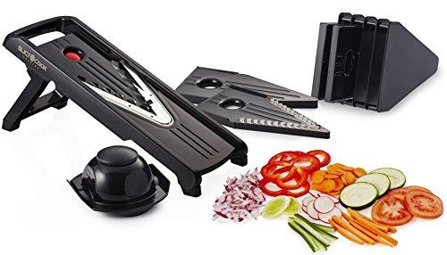 Slice&cook Mandoline Slicer + Free Recipes - Professional Mandoline V-slicer - Vegetable Slicer - (black) 5 Different