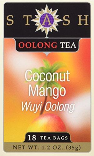 Stash Tea Coconut Mango Wuyi Oolong Tea 18 Count Tea Bags in Foil Pack of 6