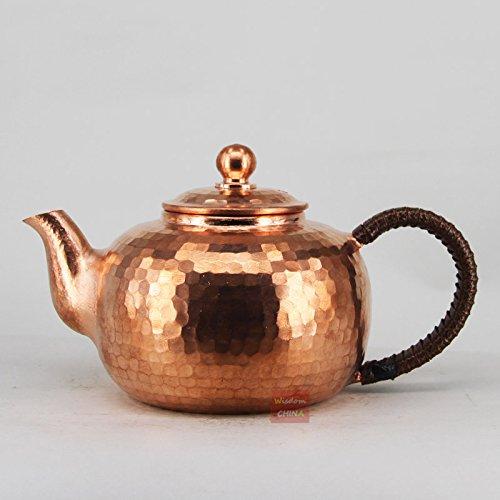 Chinese Full Handmade Red Copper Pot Hammered Metalware Teapot Tea Brewer 350ml