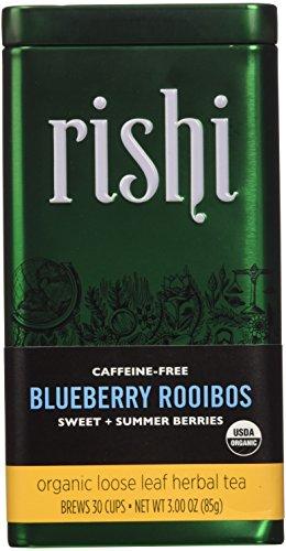 Rishi Tea Organic Loose Leaf Blueberry Rooibos Tea 299 Ounce Pack of 3