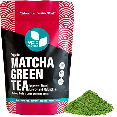 Epic Matcha Organic Matcha Green Tea Powder - 4oz113g 48 servings - Culinary Grade Non-GMO Vegan Unsweetened