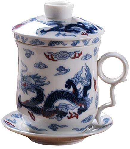 BandTie Convenient Travel Office Loose Leaf Tea Brewing System Teacup-Chinese Jingdezhen Blue and White Porcelain Tea Cup Infuser 4-Piece Set with Tea Cup Lid and SaucerXiangYu Dragon