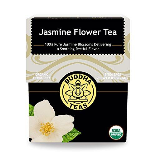 Organic Chinese Jasmine Flower Tea - Kosher Caffeine-Free GMO-Free - 18 Bleach-Free Tea Bags