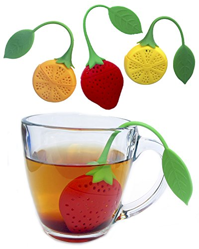 Tea Infuser Set of 3 Cute Silicone Tea Strainers by Simple To Brew Strawberry Lemon and Orange Tea Infusers for Loose Leaf Tea