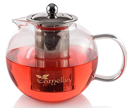 Camellia Teapot with Removable Stainless Steel Infuser Borosilicate Glass Loose Leaf Tea Kettle Stove top Safe - Holds 5 Cups 40 Ounce 1200ml