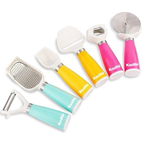 Koolife 6-pieces Kitchen Gadgets Tools Set- Bottle Opener, Ice Spoon, Fruit Peeler, Cheese Slicer, Pizza Cutter