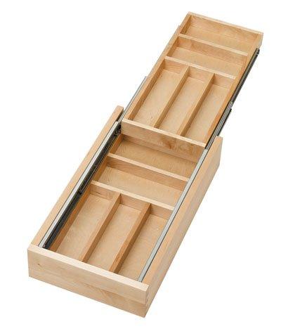 Rev-A-Shelf Two-Tier Wood Cutlery Drawer Organizer Trays 15 RS4WTCD151