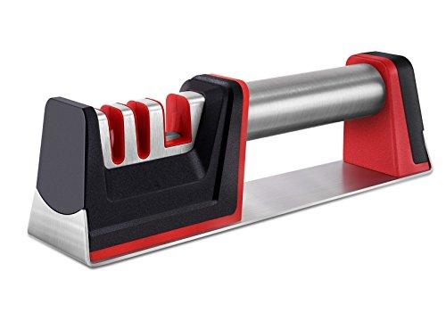 Knife Sharpener Manual Knife Scissors Sharpener Professional 3 Stage Diamond Sharpening System Helps Repair Restore and Polish Blades