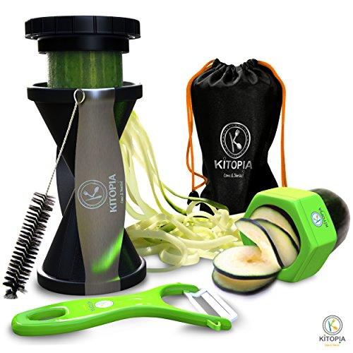 Kitopia's Spiral Slicer Bundle Gift Set.veggie Peeler, Cucumber Slicer, & Vegetable Recipe Package.
