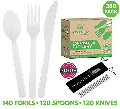 Ecoridge Compostable Utensils Plastic Silverware Cutlery Set - 380pc 140 Forks 120 Spoons 120 Knives - Eco Biodegradable Plastic Utensils Compostable Cutlery Heavy Duty Fork Spoon Knife Set