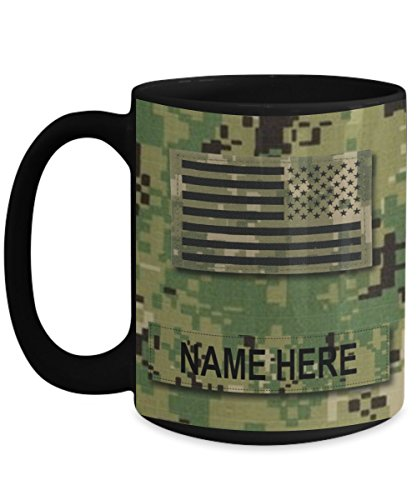 Personalized Navy Coffee Mug - US NAVY Officer Captain CAPT - O6 - US Navy Gift - Customize with NameText and Rank - 15 oz Cup