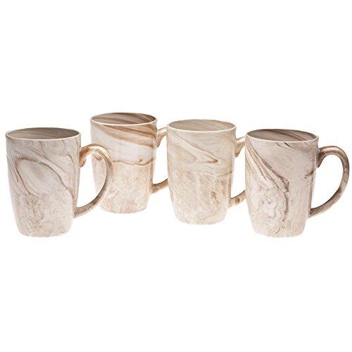 Culver 16-Ounce Palermo Ceramic Mug Set of 4 Brown Marble