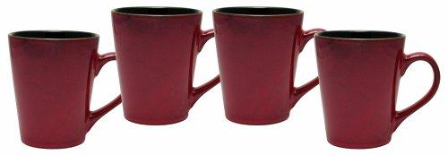 Culver Serenity Cafe Ceramic Mug 12-Ounce Russet Set of 4