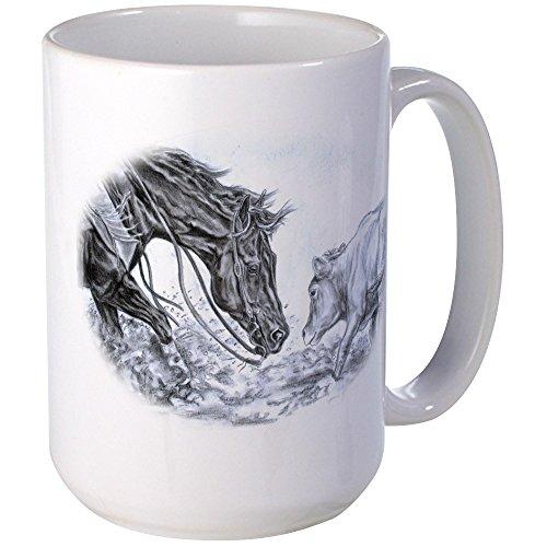 CafePress - Cutting Horse Large Mug - Coffee Mug Large 15 oz White Coffee Cup
