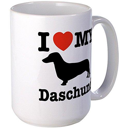 CafePress - I Love My Daschund Large Mug - Coffee Mug Large 15 oz White Coffee Cup