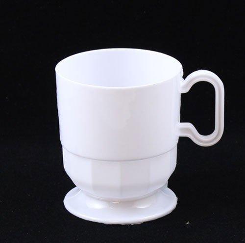 Exquisite White Premium Plastic Coffee Cups - 8 oz Coffee Mug - White Tea Cup - 40 - Count White