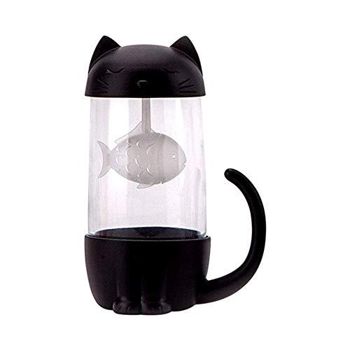 XIUYANG 10oz Cut Cat Dog Glass Cup Tea Mug With Fish Bone Infuser Strainer Filter Black Cat