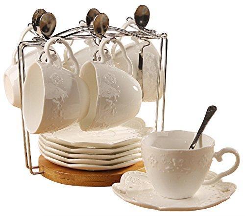 Jusalpha Porcelain Tea Cup and Saucer Coffee Cup Set with Saucer and Spoon Set of 6 6 Tea Cup Set With Bracket