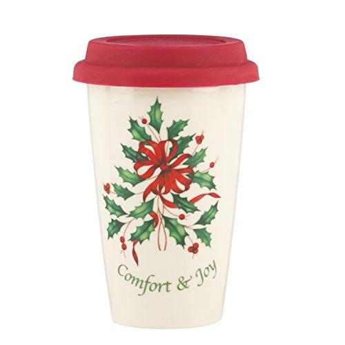 Lenox Holiday Comfort Joy Double Wall Ceramic Thermal Travel Mug 12 oz