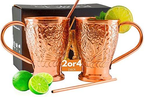 Moscow Mule Mugs Pure Copper StrawStir Sticks Set of 2 Embossed Craftsmanship Copper Mugs for Crisp Cocktails Juleps Russian Mules Kamojo Gift Set of 2