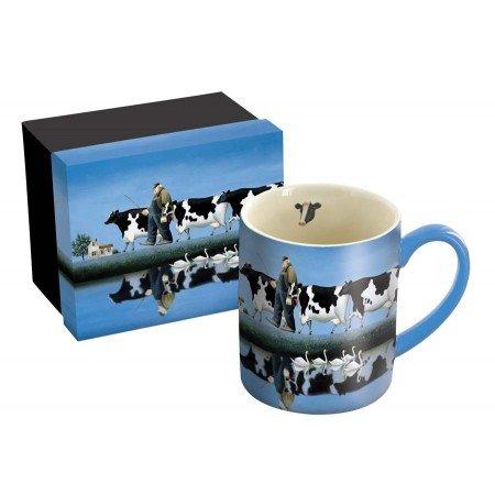 LANG  Delta Cows  14 oz Ceramic Coffee Mug  Swans Farmer Cows  Art by Lowell Herrero 5001375