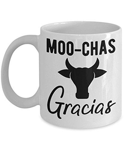 Moo Cow Mug Funny Puns Lover Moo-chas Gracias Cute Farmer Coffee Cup Gift