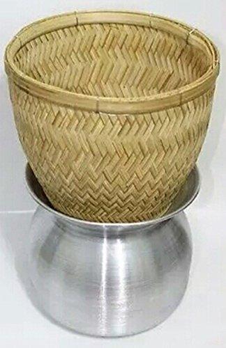 Thai Sticky Rice Steamer Handcraft Cook Thai Food Manu (basket & Pot)