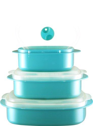 Calypso Basics 3-piece Microwave Steamer Set, Turquoise