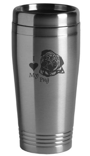 16-ounce Stainless Travel Mug - I Love My Pug