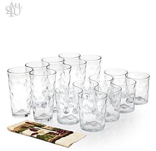 All 4 You 16 Piece Elegant Eclipse Glassware Set 8 Cooler Glasses 16 oz 8 DOF Glasses 13 oz Drinking Glasses Set of 16  1 Hand Towel
