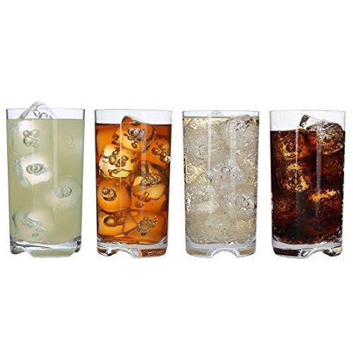 Lilys Home Unbreakable Highball Glasses - Set of 4 Premium Highball Tumblers - 100 Tritan Plastic - Shatterproof Reusable