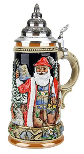 Alpine Santa and Silent Night Chapel German Beer Stein  King Werks Alpine Santa  Silent Night Chapel German Stein 075 Liter