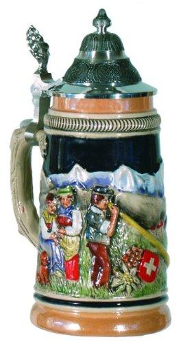 Swiss Alpine Horn Blower German Beer Stein 14L Switzerland Mug Made in Germany