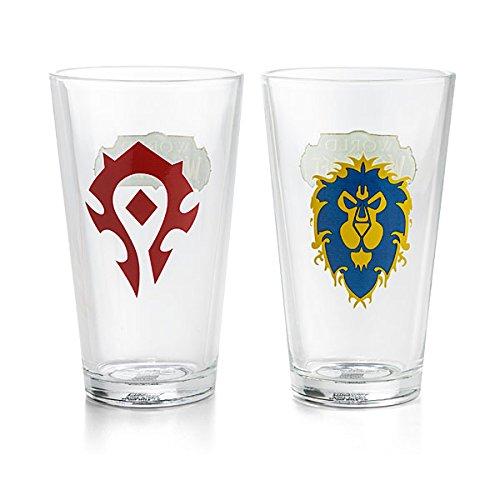 2 PACK 16oz World of Warcraft OFFICIAL ALLIANCE Vs HORDE PREMIUM Pint Glass GIFT SET