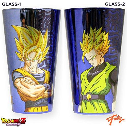 2-Pack 16oz Dragon Ball Z OFFICIAL Foil Printed Holographic PREMIUM Pint Glass GIFT SET Super Saiyan Goku and Super Saiyan Gohan