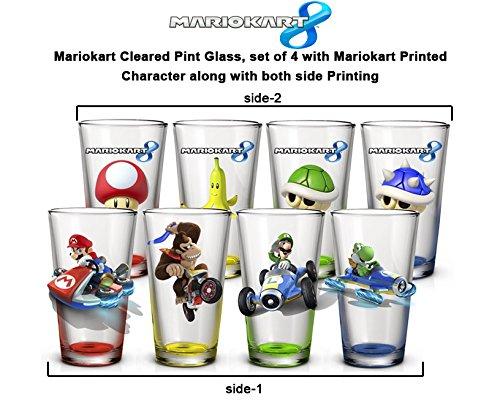 4-Pack 16oz GIFT SET Nintendo OFFICIAL Mario Kart PREMIUM Pint Glass Gift Set with Mario Luigi Donkey Kong and Yoshi