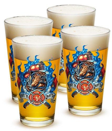 Pint Glasses – Firefighter Gifts for Men or Women – First In First Out Beer Glassware – Beer Glasses with Logo - Set of 4 16 Oz