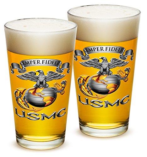 Pint Glasses – US Marine Corps Gifts for Men or Women – USMC Sempri Fidelis Beer Glassware – Beer Glasses with Logo - Set of 2 16 Oz