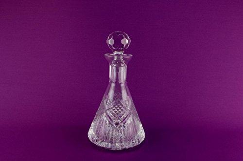 Heavy Cut Crystal Glass Tyrone Irish Ship Decanter Pyramid Yacht Port Sherry Whisky Vintage Late 20th Century