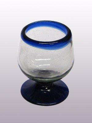 Mexican Blown Glass Cognac Glasses Cobalt Blue Rim Set of 6