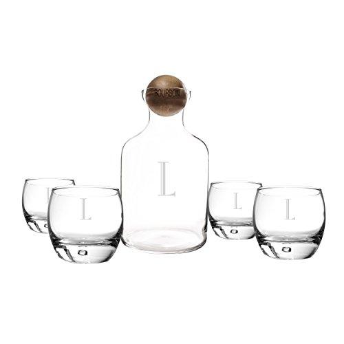 Cathys Concepts Personalized Glass Liquor Decanter with Wood Stopper Glasses Set Bourbon Letter L